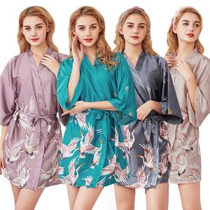 الحرير الجلباب للنساء منامة كبيرة الحجم طباعة الحرير رداء البشكير العروس خلع الملابس وصيفه الشرف الجلباب Szlafrok Peignoir فام