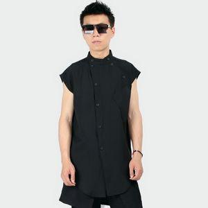 S~5XL! New 2019 Men's Clothing fashion Original sleeveless collar personality Hair Stylist plus size short sleeved shirt