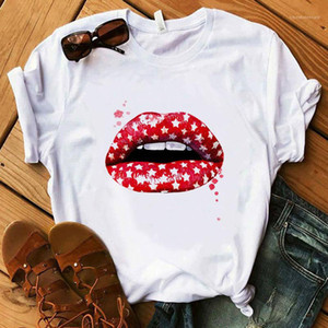 Womens Top Lips Summer Street Style Femminile Abbigliamento Stampato progettista delle donne magliette di cotone traspirante Plus Size
