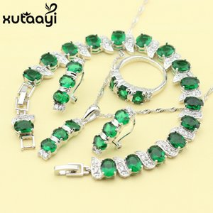 New Green Created Emerald Fashion Silver Color Jewelry Sets Graceful Necklace Rings Earrings Bracelet For Women Free Gift