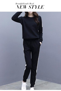 Wholesale-Black White Front Striped Slim Fit Sweatshirt and Pants Set Crop Top Autumn Casual Sporting Women Two Piece Sets