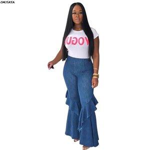 2019 New women summer skew ruffles splicing wide leg flare jean pants vintage fashion denim long trousers GLME277