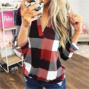 Women CHECK Blouses Classic Fashion Plaid V-neck Loose Female Casual Tops Ladies Geometric Shirt Long Sleeve Plus Size