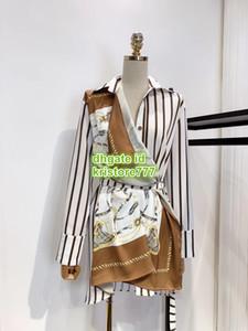 Mulheres Tops camisa Pictorial Scarf blusa com cinto High-End personalizado lapela Neck Natural Color camisa de manga longa Cadeia Blusa Vestido