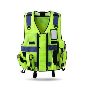 Riflettente Gilet Outdoor Protector Canotta alta visibilità multitasche traspirante sicurezza Gear Costruzioni stradali sportivo N
