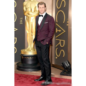 Side Vent One Button Burgundy Groom Tuxedos Shawl Lapel Groomsmen Men Wedding Blazer Prom Suits (Jacket+Pants+Vest)