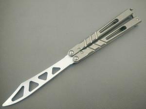 Balisong kanalı D2 bıçak titanyum kolu kelebek eğitmen eğitimi bıçak değil keskin El Sanatları Dövüş sanatları Koleksiyon knvies