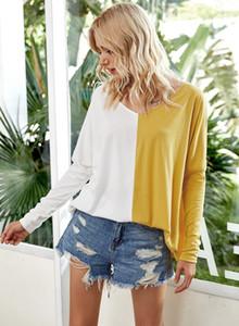 Herbst-Damen Designer-T-Shirt mit V-Ausschnitt losen Kontrast-Farben gedruckt Langarm-Tops Casual Weibliche Kleidung