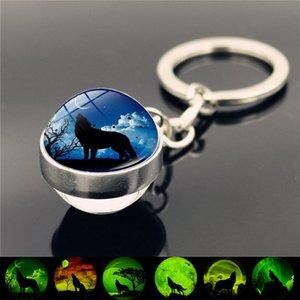 Brilho Vintage na Cadeia Dark Wolf Key Howling Wolf e Bola de vidro da lua Chaveiro Double Side Keychain de pingente de cabeça Chaveiro