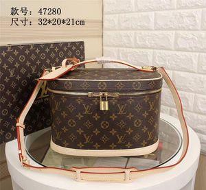 Kozmetik Çantası Son Kadın üst seviye Tek omuz çantası süslemeleri Çift fermuar açılış ve kapanış maçı Ayna 022003