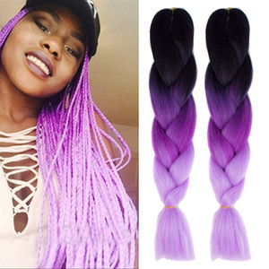 Ombre Braiding Hair Two Three Tone Jumbo Crochet Braids Synthetic Hair Extensions 24 Inches Box Braid 100% Kanekalon Braiding Hair
