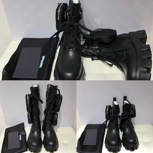Designer Damen Monolith Motorrad Stiefel Luxus Schwarz Kniehohe Tasche Boots-Plattform-Qualität mit Kasten-Größe 35-40