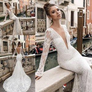 Sexy profundo escote en v con espalda abierta vestidos de novia de encaje completo de manga larga sirena vestidos de novia Boho Beach vestidos de novia Vestito Da Sposa 2019