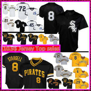 Mens 8 Bo Jackson jersey 8 Willie Stargell béisbol 72 Carlton Fisk 21 Roberto Clemente 6 Marte jerseys