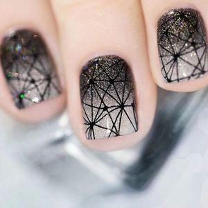 Transfert 30Sheet eau Nail Art Sticker Stickers Blanc Noir Web diamant rétro ongles curseur manucure Outils Conseils JISTZ498