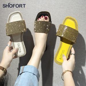 SHOFORT Damenschuhe Mode kühlen Slippers Sommer Outdoor-Schuhe Casual Hausschuhe rutschfeste Unterseite Slippers Strass Bling