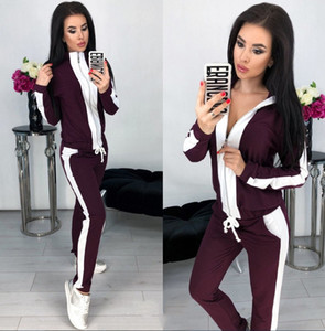 Streetwear Fatos de treino Hoodies com capuz para mulheres Long Sweatpants Suits 2 Pcs Casual Paneled Letter Print Outfits Womens Two Piece Sets