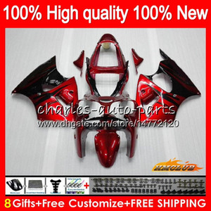 Bodys para a Kawasaki vermelho chamas ZX600 600cc ZZR600 05 06 07 08 Carroçaria 38HC.10 ZX600CC ZZR600 ZZR 600 2005 2006 2007 2008 kit OEM Fairing