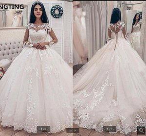 New arrival vintage Lace Applique Long Sleeves Ball Gown Wedding Dresses beaded hollow back sexy corset cheap bridal gowns hot sale