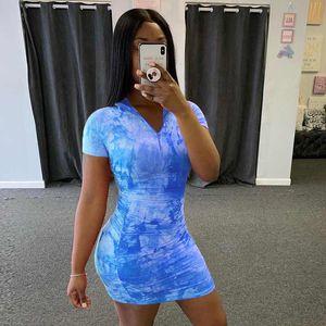 Women's Sexy Tie-Dye Printed Dress Zipper High-Deep V-Neck Short-Sleeve Bodysuit Jumpsuit DHL Ty6050