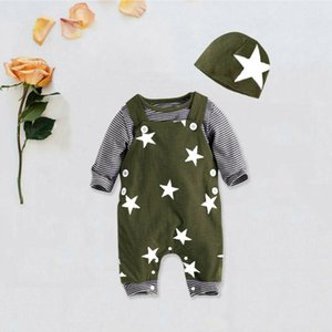 Pudcoco Baby Boys Clothes 2PCS Toddler Kids Long Sleeve Striped Tee Shirts Top Suspender Star Romper + Hat Cotton Outfits