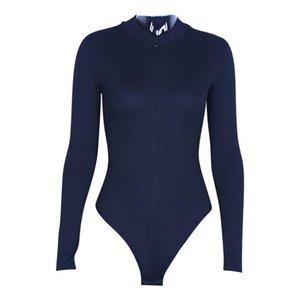 Donna Casual Solid Stand Collar Lungo Regular Sleeve regolare Materiale traspirante morbido Tuta con cerniera elastica