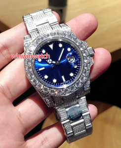 Hot Sale big diamond Watch Sweep Smoothly Mechanical Automatic Movement 3 color Face 40MM Big diamond Bezel silver Stainless Steel WATCH