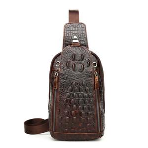ICEV European Fashion Chest Bag Men Genuine Leather Chest Pack Functional Travel Organizer Alligator Messenger Male Sling Bag