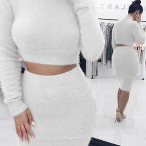 Zweiteiler Top und Rock Damen 2-teiliges Set 2020 New geerntete Pullover und Röcke Herbst-Winter-Kleidung Damen Damen