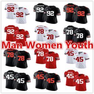 por encargo de fútbol de la NCAA Ohio State Buckeyes jerseys Adolphus Washington 92 Andrew Bradley Norwell 78 Roby 1 jersey de cualquier número nombre de S-5XL