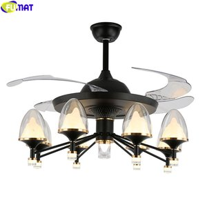 FUMAT Invisible Ceiling Fan Droplight Nodic Pendant Light Remote Control Hanging Lamp Fixture Dinning Room Chandelier Lighting