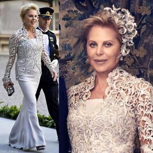 Vestido sin tirantes de la madre de la novia de la vendimia con la chaqueta del cordón Vestidos de las mamás baratas Tallas grandes Sirena Mujer Vestidos de noche Bolero