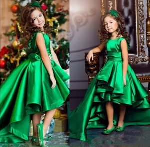 Emerald Green Satin Little Girls Pageant Dresses High Low Tiered Prieces Flower Girls Dresses For Weddings Lovely Kids 2020 Communion Gown