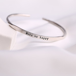 Minimalism Letter inscribe Women Sterling Silver Bangle Bracelet Freeshipping