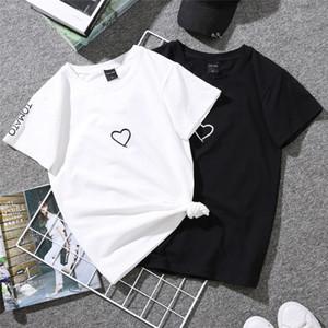 Summer Lovers T-Shirt per Lady Student Casual Bianco Tops Donna T Shirt Love Heart Ricamo Print Tshirt Donna