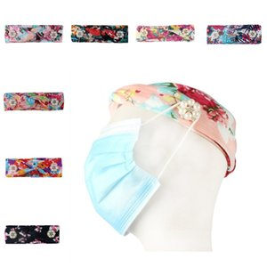 DHL shipping Headbands with Button for Mask for Nurses Elastic Women Yoga Hair Bands Boho Floral Stretchy Criss Cross Turban Headwrap L212FA