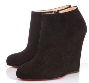 Comfort estilo Winter Fashion Sapatinho Mulheres Red inferior Booty Belle Zeppa Botas Rodada Toe Suede couro bota vermelha, Preto
