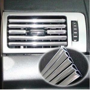 10PCS Silver Car U Style Chrome Strip Rim Cover Air-conditioner Grille Speaker Radio Light Trim Interior Decorative DIY Tool