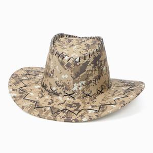 Camouflage Cowboy Chapeaux Suede Camo Western Chevalier Chapeau Retro Brim Caps Outdoor Summer Beach Chapeau Voyage OOA7431