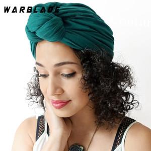 Warblade 2020 Yeni Pamuk Türban Şapka Katı Renk Kadınlar Afrika Büküm Headwrap Bayanlar Kafa Sarar Arap Hindistan Bonnet Şapka Hicaps Kap