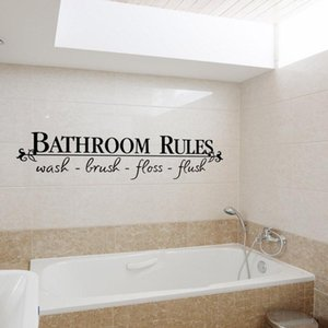 Hot sale wholesale Bathroom Rules English Quote Window Stickers Vinyl Wall Art Decals Home Decor free shipping