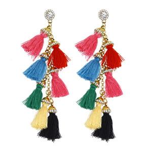Nueva joyería de moda étnica estilo threndy colorida decoración nacional mujeres pendientes largos borlas pendientes mujeres A0128 Wholsale regalo