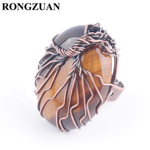 RONGZUAN Adjustable Ring Women Finger Jewelry Natural Stone Tiger Eye Oval Bead Antique Rings Copper Wire Wrapped Tree of Life DX3056