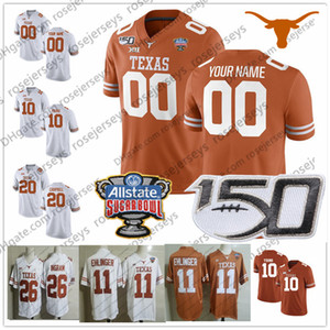 Custom Texas Longhorns 2019 Fútbol Cualquier nombre Número Naranja Blanco 11 Ehlinger 7 Sterns 9 Collin Johnson Young Sugar Bowl NCAA 150TH Jersey