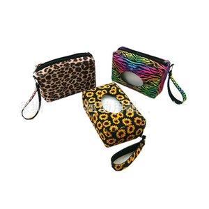 아기 물티슈 디스펜서 주최자 네오프렌 해바라기 레오파드 프린트 티슈 박스는 방수가 Portable8 5sx E1 여행 야외 가방을 닦아