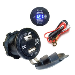 12V 24V Dual USB 2.4A LED Voltmeter Car Charger Adapter With Touch ON OFF Switch