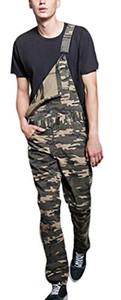 Men's Jeans Camo Print Mid-Waist Casual Denim Overalls Jumpsuit Rompers
