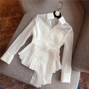 2020 İlkbahar Sonbahar Yeni Moda Dantel-up Kemer Organze Gömlek Kadın Peri Beyaz Bluz Lady Bayan Zarif blusas Feminina Tops