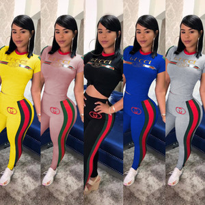 Le donne di marca Plus Size Autunno Inverno Abbigliamento Capris Pullover 2 pezzi T-shirt Leggings S-3XL Sport Suit Outfits Pants SPORTSWEAR 415