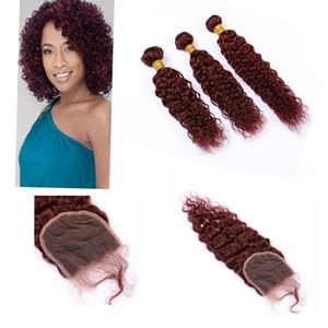 """Indian Virgin Haar Bundle-Angebote mit Closures 4"""" * 4"""" # 99J Farbe Water Wave Bundle Haar Angebote mit Schließung"""